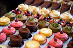 Cake selection. Selection of fresh cakes on a buffet stock images