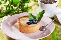 Cake of semolina blueberry and mint on a gray plate Provence still life dessert Royalty Free Stock Image