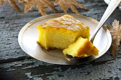Cake with semolina and jam. Cake with semolina, turmeric and apricot jam Royalty Free Stock Photography
