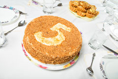 Cake served at the holiday table Royalty Free Stock Images