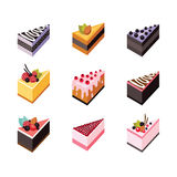 Cake set Isometric flat design web icon collection Delicious dessert Stock Image
