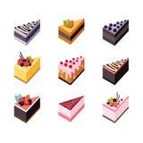 Cake set Isometric flat design web icon collection Delicious dessert Stock Image