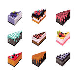 Cake set Isometric flat design web icon collection Delicious dessert Royalty Free Stock Image