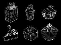 Cake. Set of sketch cake element. Vector illustration Stock Images