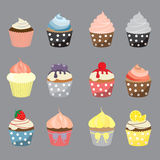 Cake set 4. Set of yummy cupcake, vector EPS 10 Royalty Free Stock Photo