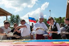A cake in the shape of the flag of Russia. ORENBURG, ORENBURG region, RUSSIA, 22 August, 2014 year. Restaurant Russian metochion. A cake in the shape of the flag stock images