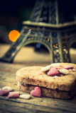 Cake in the shape of a heart with eiffel tower Stock Image
