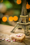 Cake in the shape of a heart with eiffel tower Royalty Free Stock Photos