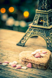 Cake in the shape of a heart with eiffel tower Royalty Free Stock Image