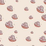 Cake in the shape of heart Hand drawn sketch on pink background. seamless pattern vector Stock Photo