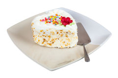 Cake in the shape of heart on plate Royalty Free Stock Images