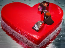 Cake in the shape of heart. Cake in the shape of a heart with space for text Stock Images