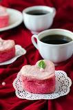 Cake in the shape of a heart for St. Valentine's Day Royalty Free Stock Photo
