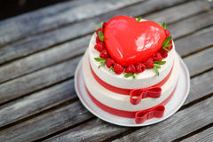 Cake in the shape of heart. On Valentine`s Day Stock Image