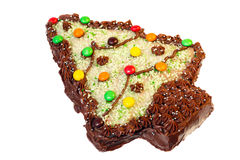 Cake shaped and decorated like Christmas tree Stock Image