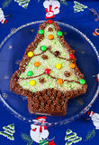Cake shaped like Christmas tree Stock Image