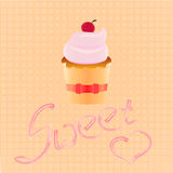 Cake shop logo, sweet cupcake with pink cream and ribbon, retro dessert emblem template design element. Royalty Free Stock Photo