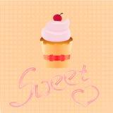 Cake shop logo, sweet cupcake with pink cream and ribbon, retro dessert emblem template design element. Royalty Free Stock Photo
