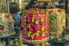 Cake in a shop window. Italy, Venice 03,01,2018 Cake in a shop window stock photography