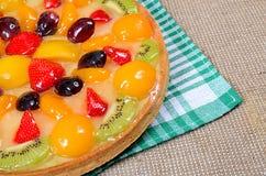 Cake from shortcake dough with fruit Stock Photos