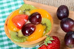 Cake from shortcake dough with fruit Royalty Free Stock Photo