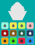 Cake sign icon. Round colourful 12 buttons Royalty Free Stock Photo
