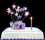Cake with Single Candle Royalty Free Stock Images