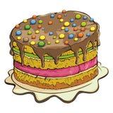 Cake. Single colorful cake on white Stock Photo