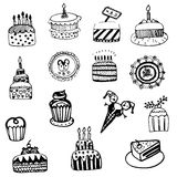 Cake sketch vector set Royalty Free Stock Photos