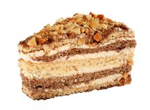 Cake slice. With nut and cream detail stock image