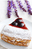 Cake slice with cherries Stock Photo