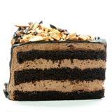Cake slice isolated. Chocolate cake slice isolated on white stock photography