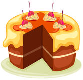 Cake with slice removed. Illustration of isolated  a cake with slice removed on white Stock Photo