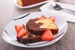 Cake slice and strawberry Royalty Free Stock Image