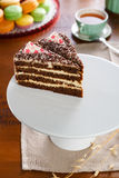 Cake slices served with tea Royalty Free Stock Photos