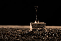 Cake with a small spoon Royalty Free Stock Photography
