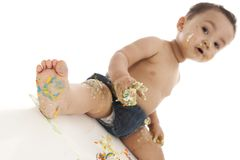 Cake smash. Royalty Free Stock Photo