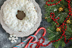 Cake, snowflakes, candy and Christmas tree. Royalty Free Stock Images