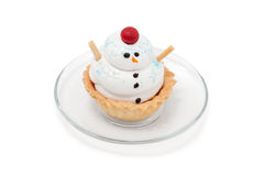 Cake snowman on plate Royalty Free Stock Image