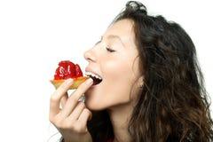 cake som äter flickan Fotografering för Bildbyråer