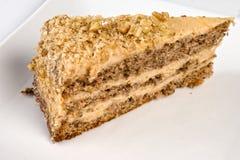 cake som innehåller hemlagade styckvalnötter Royaltyfri Foto