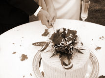 cake som klipper horisontalsepia Arkivbild