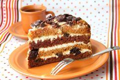 Cake with sour cream, prunes and walnuts Royalty Free Stock Photos