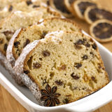 Cake with spices and dried fruits, selective focus Royalty Free Stock Photography