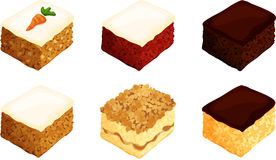 Square Cake Slices. Six isolated rectangular slices of carrot cake, red velvet cake, chocolate cake, spice cake, coffee cake, and yellow cake Royalty Free Stock Images