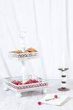 Cake Stand With Cherries And Cookies Royalty Free Stock Image
