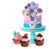 Cake on stand. Vector illustration. Royalty Free Stock Images