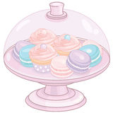 Cake Stand with Cupcakes and Macaroons Royalty Free Stock Photography