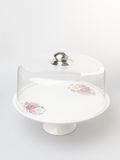 cake stand or glass cake tray on a backgeound. Stock Photo