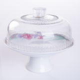 cake stand or glass cake tray on a backgeound. Royalty Free Stock Photography